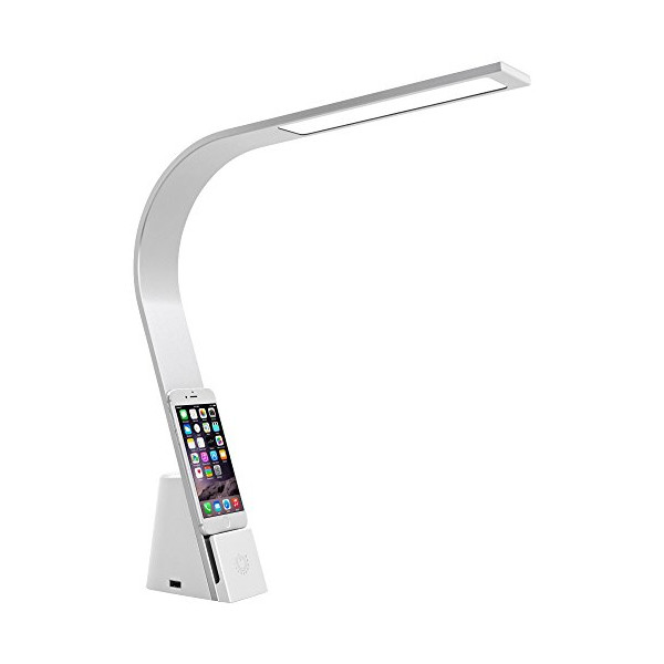 Mighty Bright Lux Brooklyn White LED Desk Lamp with USBs