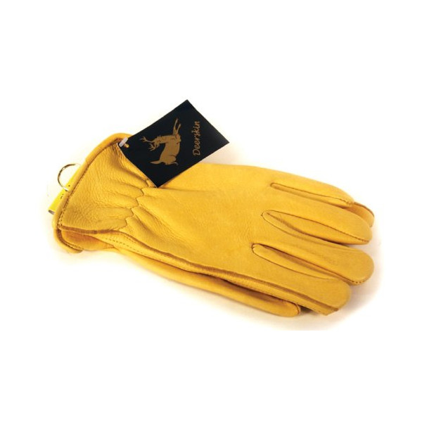 Napa Deerskin Leather Driver Gloves (Gold, Medium)