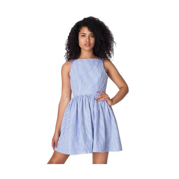 American Apparel Sun Dress - White Royal Blue Seersucker / S