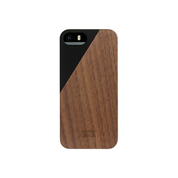 Native Union CLIC Wooden Case for iPhone SE, iPhone 5, iPhone 5s - Handcrafted Real Walnut Wood Protective Slim Cover (Black)