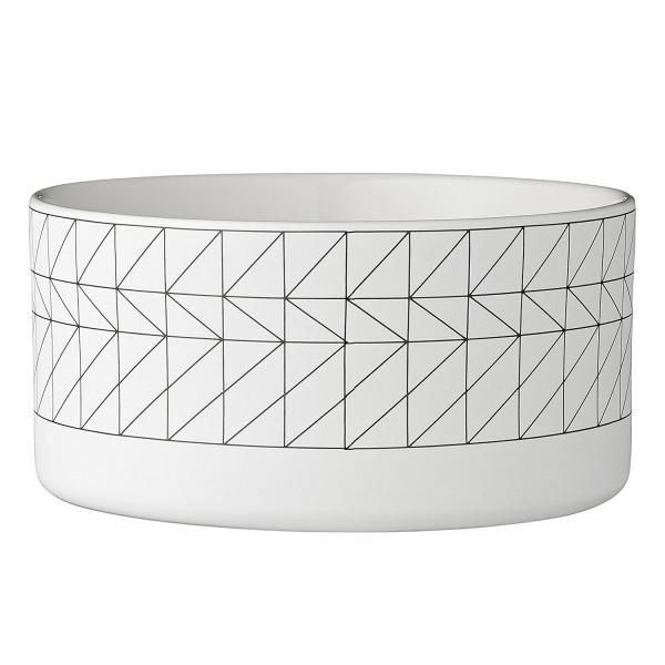 Bloomingville Ceramic Carina Bowl, White With Black Design