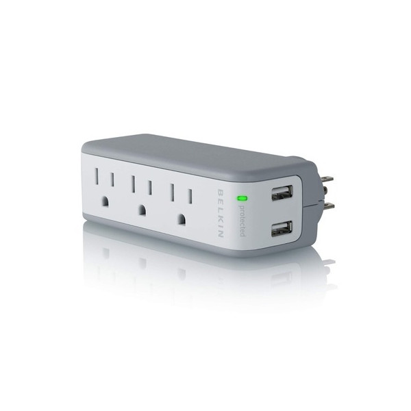 Belkin 3-Outlet Mini Travel Swivel Charger Surge Protector with Dual USB Ports