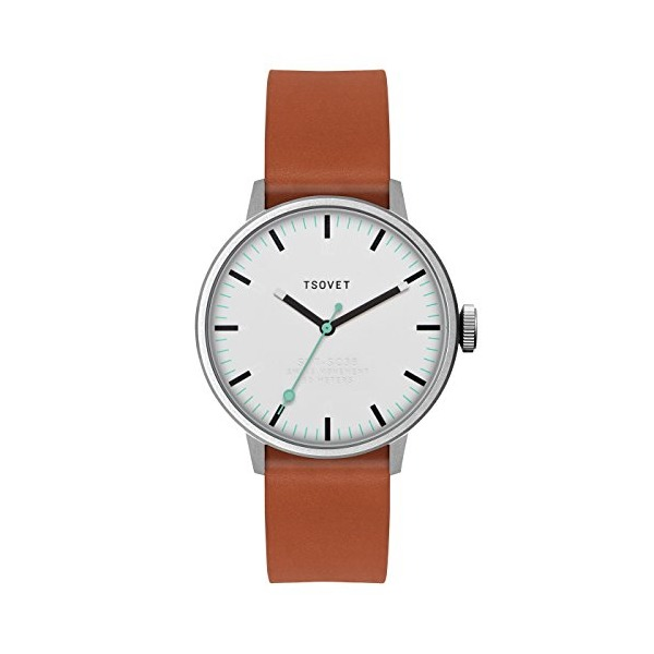 TSOVET Watch SVT-SC38 Stainless White Dial Tan Leather Strap SC111513-40