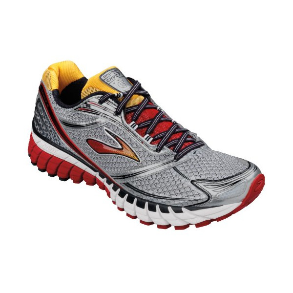 Brooks Men's Ghost 6 Running Shoes, Color: Blck/Wht/Lava/Slvr/Citrus, Size: 11.0