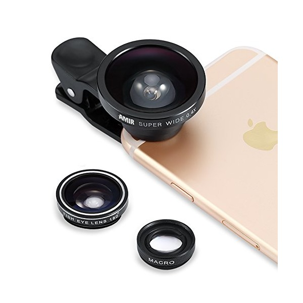 3 in 1 Fisheye Lens + Macro Lens + 0.4X Super Wide Angle Lens, Amir® Clip On Cell Phone Lens Camera Lens Kits for iPhone 6S,6,5S,Galaxy and All Other Smartphones