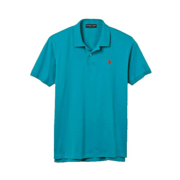 U.S. Polo Assn. Men's Pique Solid Polo with Small Pony (Small, Aqua)