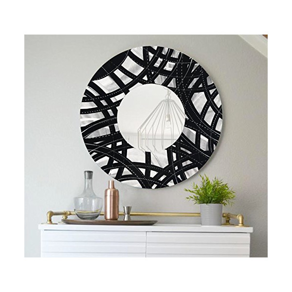 Black & Silver Contemporary Metal Wall Mirror - Modern Metal Wall Art - Home Decor - Office Wall Accent by Jon Allen - Mirror 108