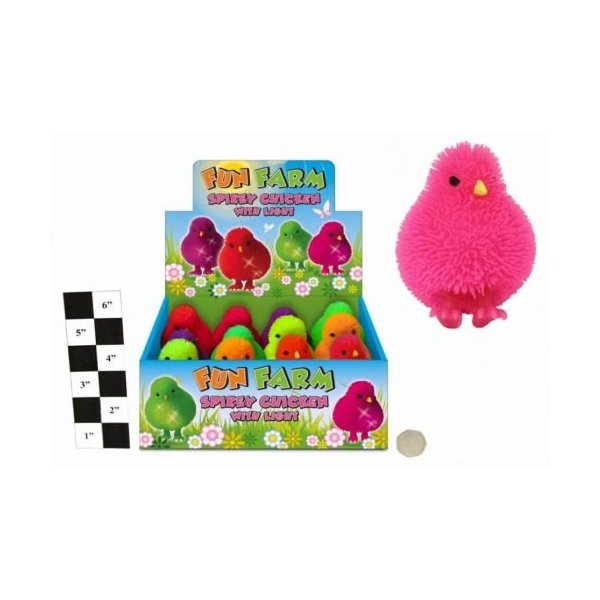 8cm Fun Farm Spikey Chicken with Flashing Lights - Easter- Party Bag Toy