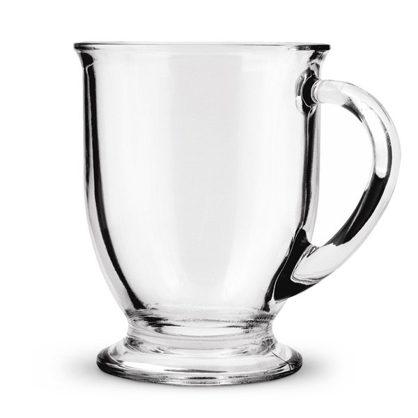 Anchor Hocking Clear Glass Cafe Mug, 16-Ounce, Set of 6
