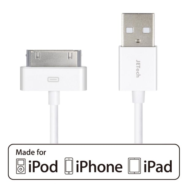 iPhone 4s Cable, JETech® APPLE CERTIFIED USB Sync and Charging Cable for iPhone 4/4S, iPhone 3G/3GS, iPad 1/2/3, iPod - 3.2 Feet 1 Meter - 0156