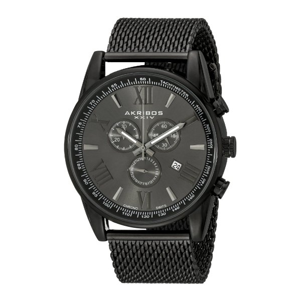 Akribos XXIV Men's AK813BK  Round Black Radiant Sunburst Dial Chronograph Quartz Bracelet Watch