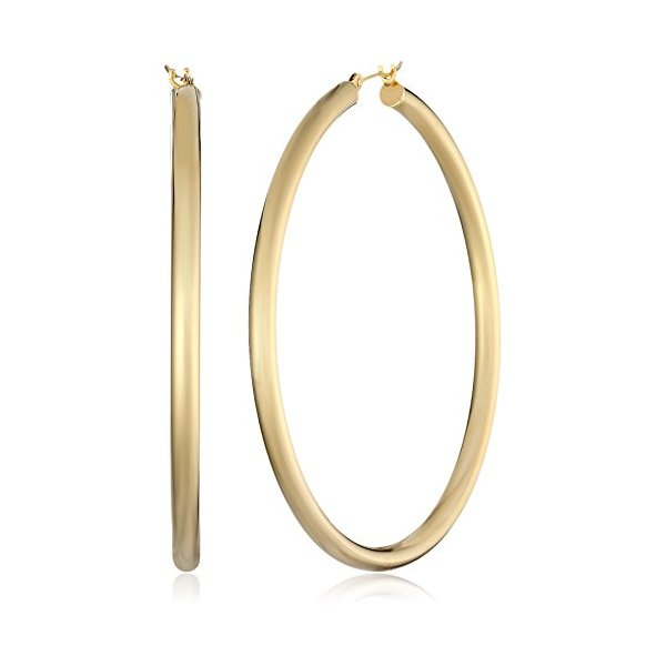 "Bonded 14k Gold and Sterling Silver Polished Hoop Earrings, (2"" Diameter)"
