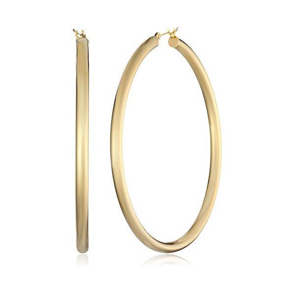 "Bonded 14k Gold and Sterling Silver Polished Hoop Earrings, (2"" Diameter)"