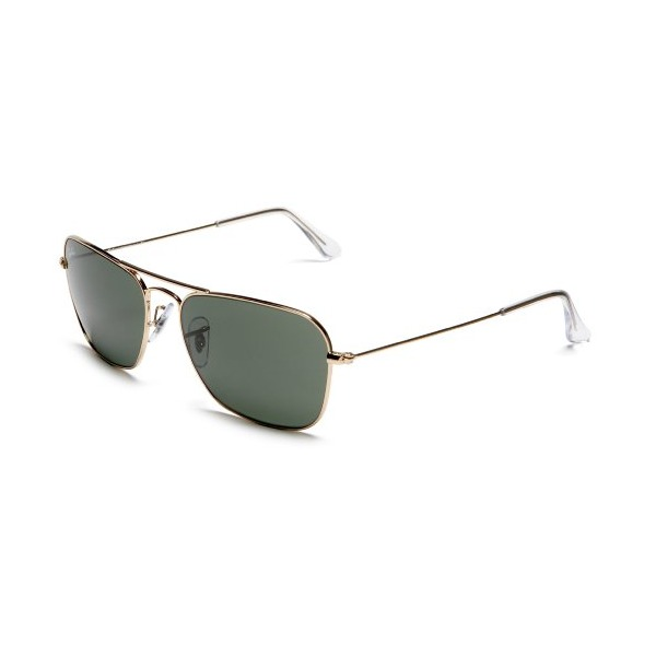 Ray-Ban RB3136 Caravan Sunglasses 58 mm, Non-Polarized, Gold/Green