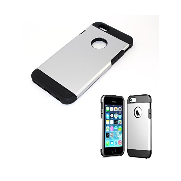 EZstation (TM) Combination Dual layer Hard Shell & Silicone Snap-On Hybrid Armor Anti-Scratch Anti-Drop Slim Resistant Protective Armor Skin Cover Case For iPhone 6 (4.7 inch) Verizon, AT&T, Sprint, T-mobile, Unlocked (SILVER)