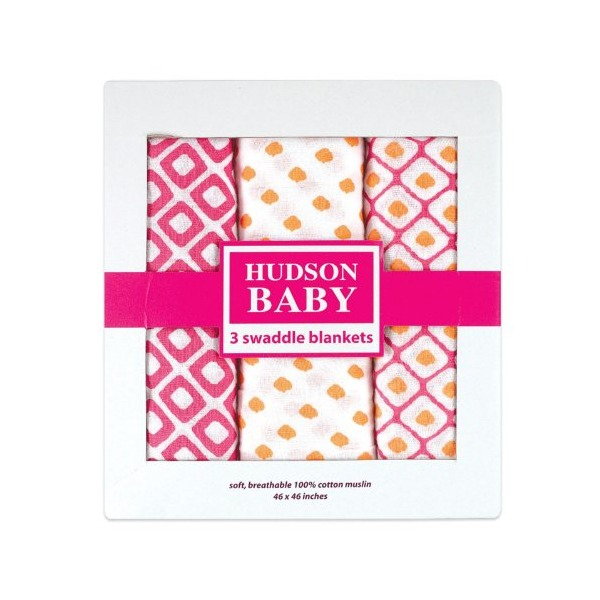 Hudson Baby Muslin Swaddle Blankets, Pink