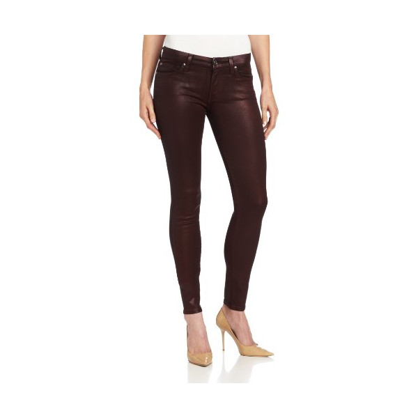 7 For All Mankind Women's The Skinny with Contour Waistband in Higher Gloss Gummy, Garnet Red, 26
