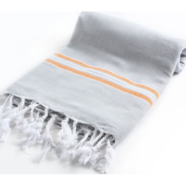 Cacala Pestemal Turkish Bath Towels Striped for Beach Sauna Luxury Peshtemal 37x70 Silvergrey-Orange