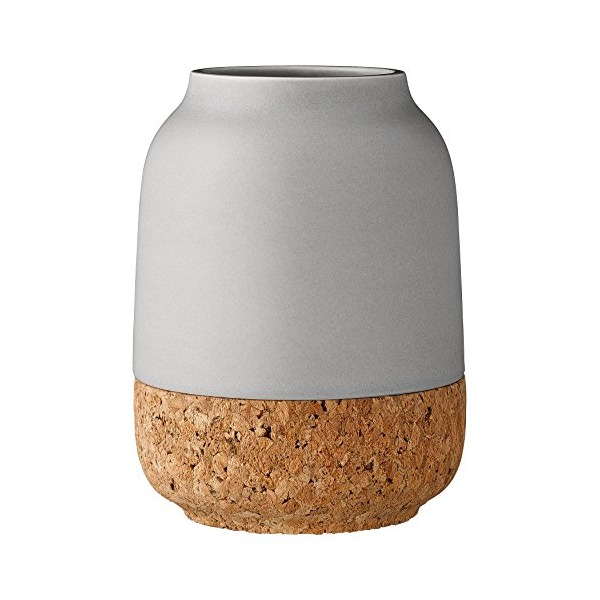 Bloomingville A32600024 Grey Ceramic Vase with Cork Bottom