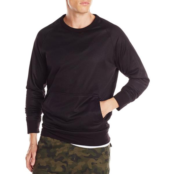 Zanerobe Men's Flight Crew Sweatshirt, Black Mesh