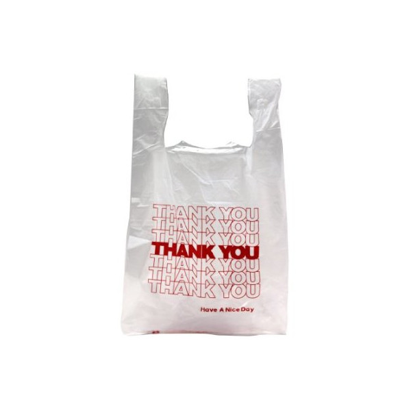 Thank You T-Shirt Carry Out Plastic Shopping Bags - White - Case of 500