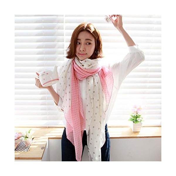 Autumn Winter Fashion Polka Dot Fresh Lovely Voile Scarf Wrap Tippet Shawl