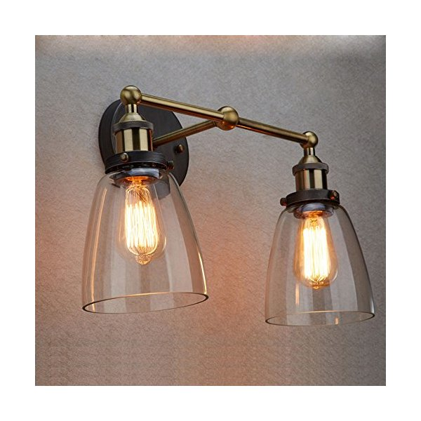 Ecopower Simplicity Industrial Edison Antique Glass 2-light Wall Sconces Wall Lamp