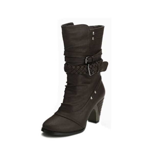 G Antini Women Imitation Leather Vamp Side Zip Mid Calf Heel Boots