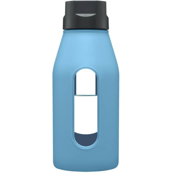 Takeya 12 oz Glass Water Bottle with Silicone Sleeve, Cobalt Blue