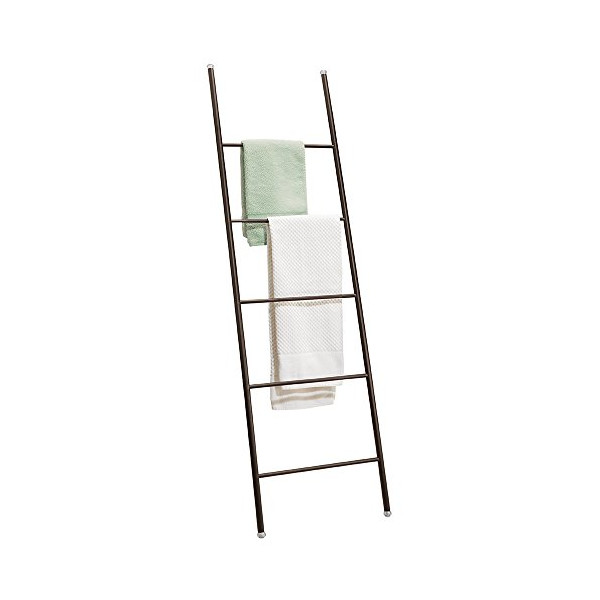 mDesign Free Standing Bath Towel Bar Storage Ladder - 5 Rungs, Bronze