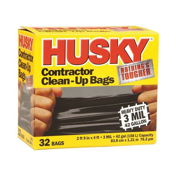 Poly America PAMHK42WC032B Husky 42-Gallon Contractor Clean-Up Bags - 32 Count