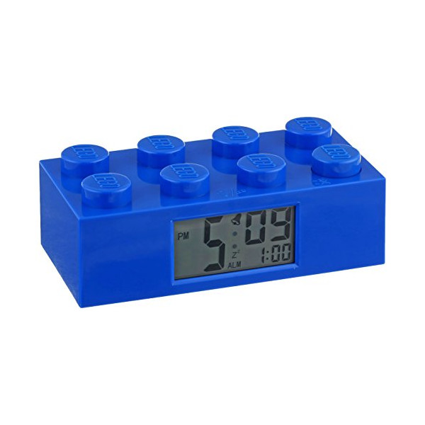 LEGO Kids' 9002151 Blue Plastic Brick Alarm Clock