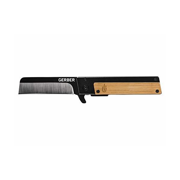 Gerber Quadrant, Straight Edge Flipper Knife with Pocket Clip, Bamboo [31-003731]