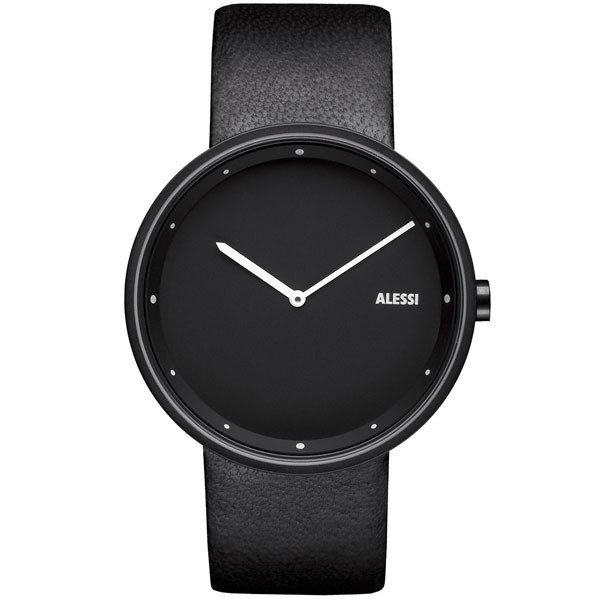 Alessi Out Time Stainless Steel and Leather Watch