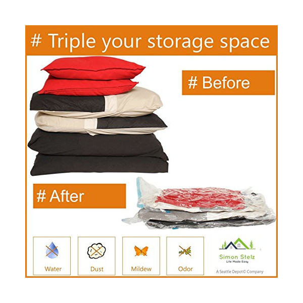 Enormous Space Saver Vacuum Storage Bags, Three Pack. Largest Vacuum Bags on Amazon. For Blankets, Comforters & Cushions.