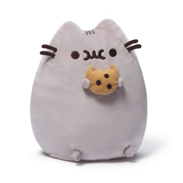 GUND Pusheen with Cookie 9.5-inch Plush Cat plus 18-piece Pusheen Sticker Sheet