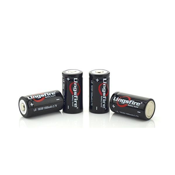 LingsFire® 4 Pieces LS 18350 3.7V 1500mAh Rechargeable Li-ion Battery(Black)