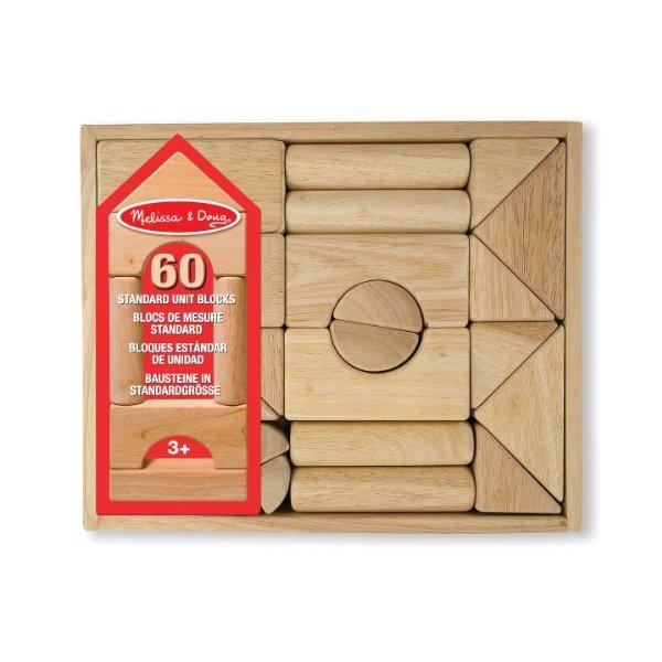 Melissa & Doug Standard Unit Building Blocks - Natural Hardwood (60 Pieces)
