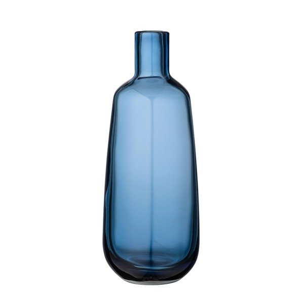 Bottle Shaped Navy Glass Vase