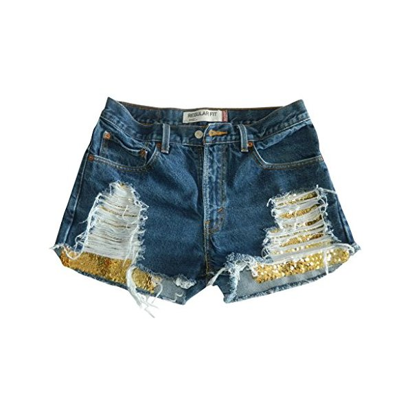Women's Vintage Levi Distressed Ripped Shorts Gold Sequin Denim Jean-L