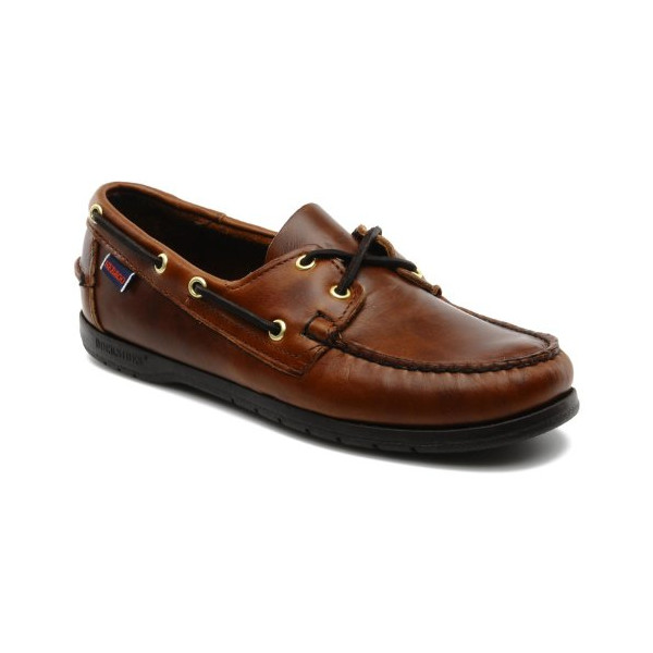 Sebago Endeavor Men's Brown Leather Boat Shoes (10 Wide, Brown)