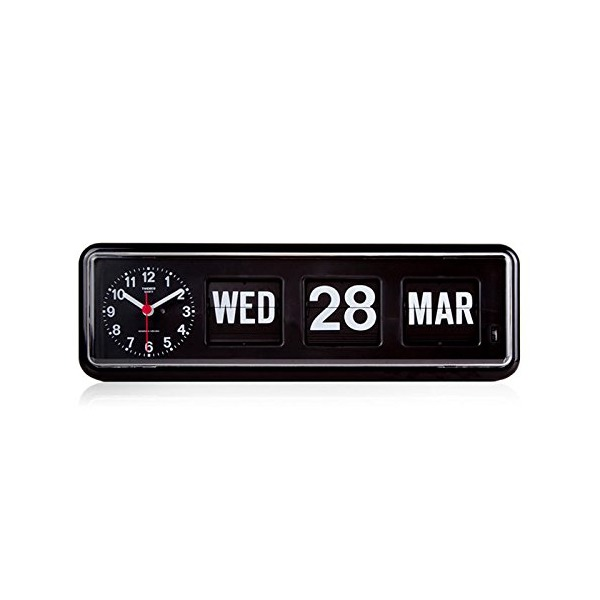 Homeloo x Twemco German Quartz Retro Modern Calendar Wall Flip Clock, Black
