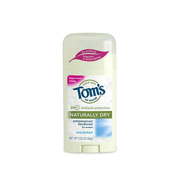 Tom's Of Maine Women's Naturally Dry Antiperspirant, Unscented, 2.25 Ounce (Pack Of 2)