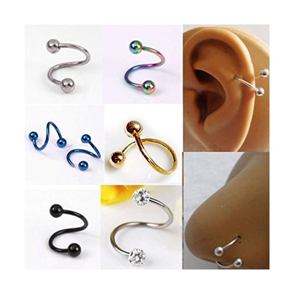 HuntGold 2 X Stylish Multifunction Unisex S Twist Nose Lip Eyebrow Ring Earring Nose Stud(colorful)