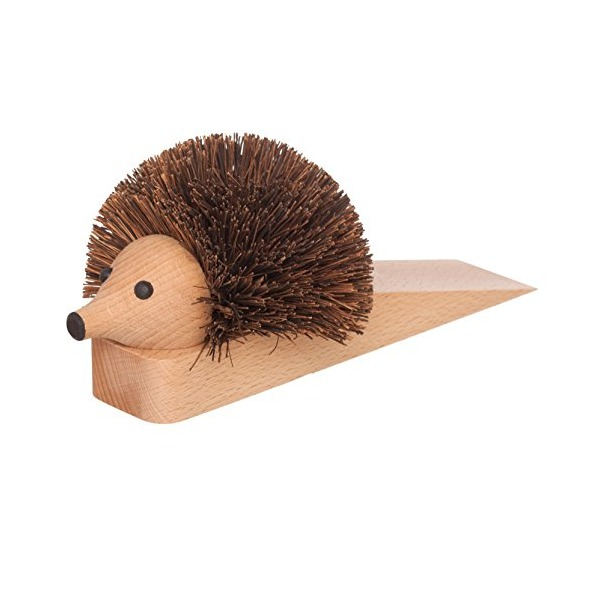 Bürstenhaus Redecker Hedgehog Wooden Door Stop, 10-1/2 Inches Long