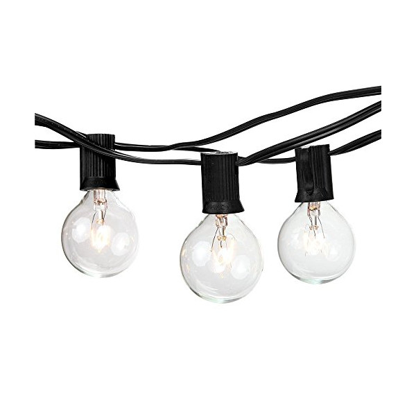 Brightech - Ambience - Outdoor String Lights with 25 G40 Clear Globe Bulbs - Commercial Quality - UL Listed - Indoor and Outdoor Use - Natural Warm White Light - Black Wire