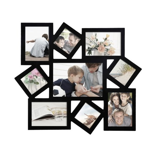 Adeco 9-Opening Decorative Wood Collage Wall Hanging Picture Frame, Black