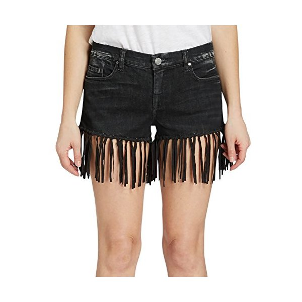 Women's Vintage Mid Rise Wrangler's Bohemian Black Leather Fringe Short-L