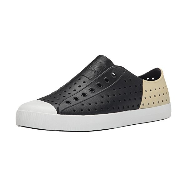 Native Shoes Unisex Jefferson Jiffy Black/Shell White/Bone Block Sneaker Men's 3, Women's 5 Medium