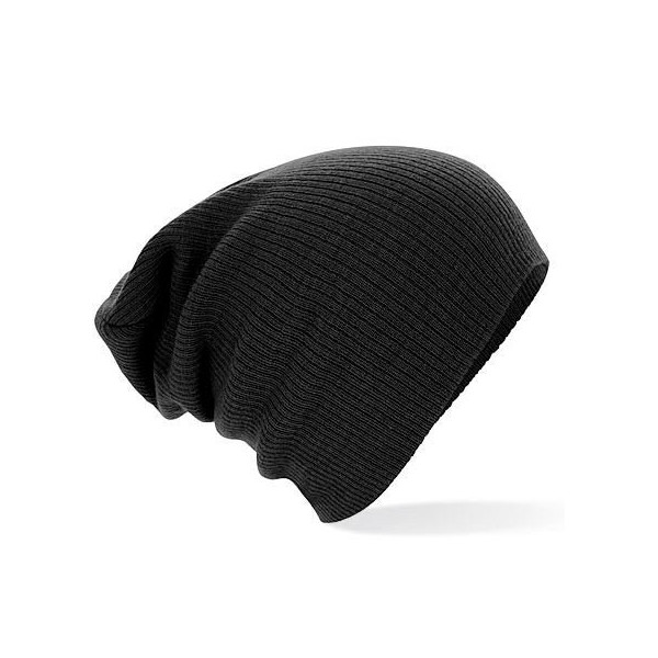 Beechfield Mens Knitted Soft Feel Slouch Beanie Ski Hat Black
